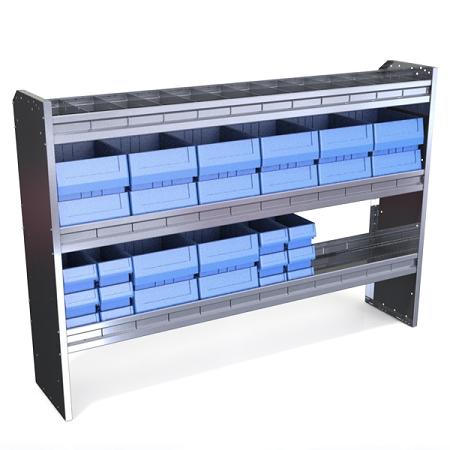 62 Inch Aluminum Van Shelving With Bin Modular Kit