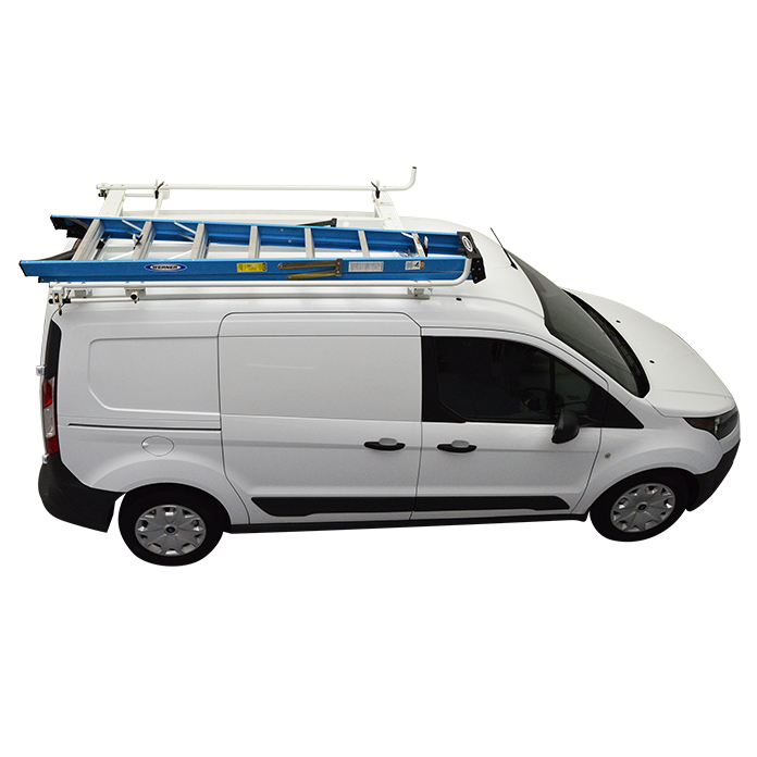 transit connect aluminum cargo van ladder rack with clamp and lock mechanism