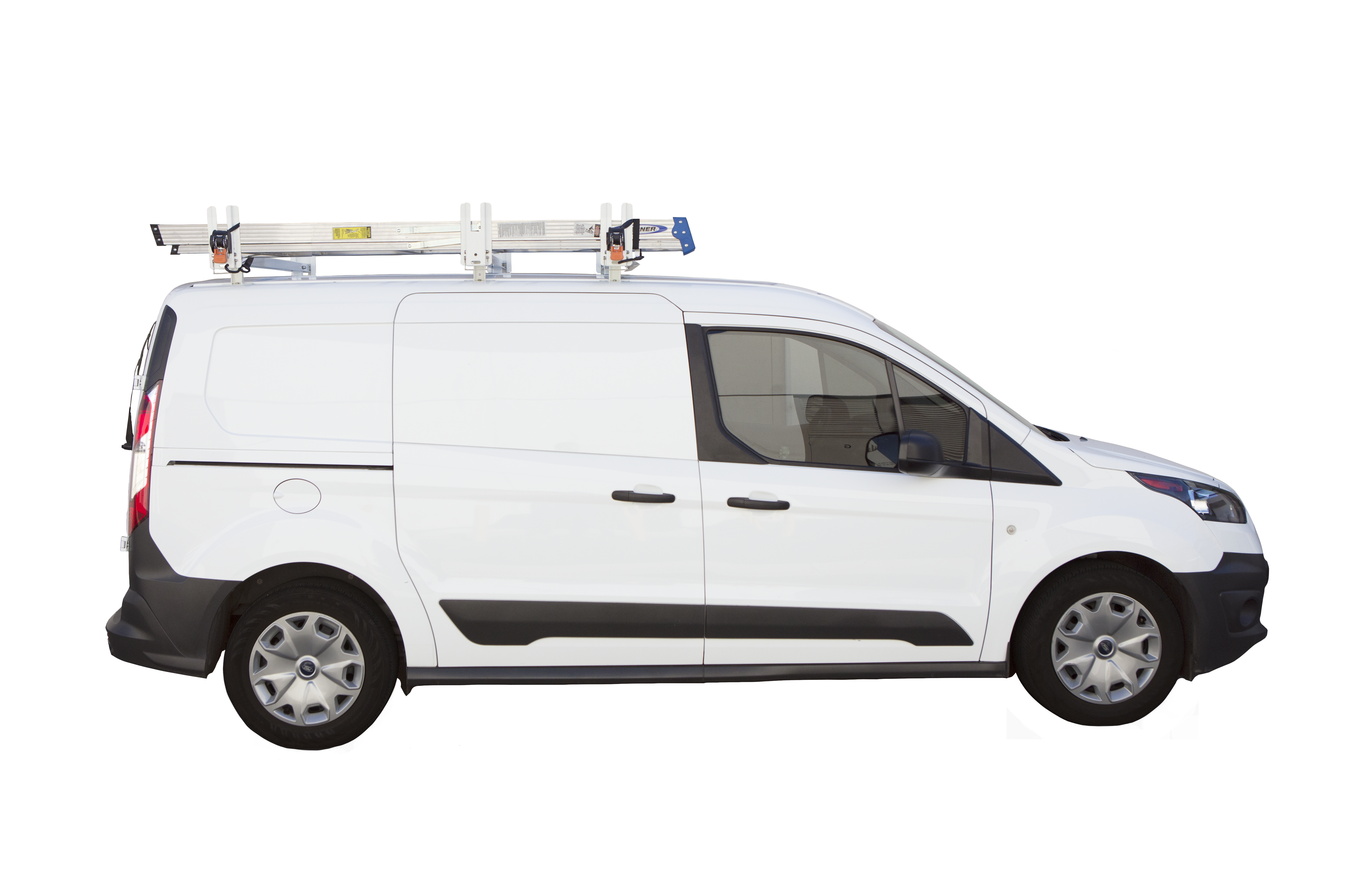 9f99cc539e9a8b Kargo Master Aluminum Crossbar Utility Van Rack with Wind Deflector For  Compact Vans. Pictured with Optional 3rd Crossbar and Ratchet Straps