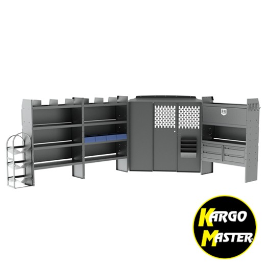Kargo Master Nissan NV High Roof HVAC Van Steel Shelving Package