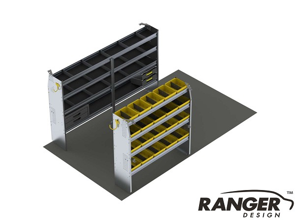 Ranger Design 10 Foot Box Truck Aluminum Shelving Package